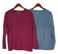 Denim & Co. Women's Top Sz M Set/ 2 Long Sleeve Stretch Henleys Pink Blue A3127