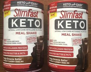 (2)Slim Fast Keto Meal Replacement Powder Brownie Batter Fudge Canister, 13.4 oz