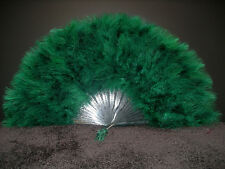 "MARABOU FEATHER FAN - HUNTER GREEN Feathers 12"" x 20"" Burlesque/Wedding/Costume"
