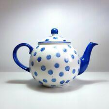 More details for arthur wood normandy spongeware teapot - blue white, ceramic, pottery, polka dot