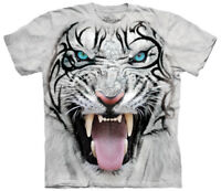 Big Face Tribal White Tiger Adult T-Shirt Tee