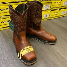 MEN'S STEEL TOE SQUARE WORK BOOTS SAFETY LEATHER MASK OIL RESISTANT BROWN #351