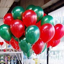 "10"" Merry Christmas Balloons Green & Red Xmas Decoration Metallic Baloon Ribbons"