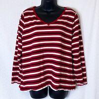 Talbots Women's Size 2X Petite Red White & Blue Striped Knit Top Shirt