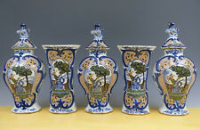Antique Superb Large Dutch Delft 5-Piece Octagonal Garniture ''Kaststel'' 19TH C