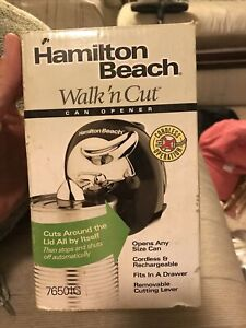 HAMILTON BEACH Walk n Cut Can Opener Cordless and Rechargeable Works Well 76501G
