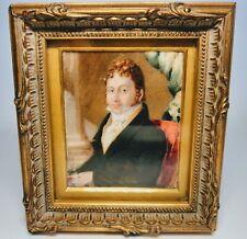 Fine Miniature Hand-Painted Portrait of Gentleman Bronze Wood Frame Leather Back