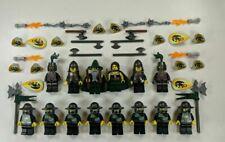14 Lego Castle Kingdoms Green Dragon Knight Minifigures w/ SHIELDS & WEAPONS