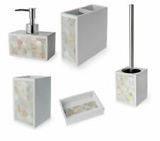 Pearl Collection Pearl White Bathroom Accessories Set