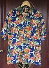 Vintage Hawaii Hawaiian Button Up Loop Collar Car Rayon Shirt. Rare.