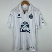 Buriram United Mens Football Soccer Jersey XL Slim White Short Sleeve Collared
