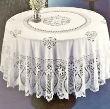 """Crochet Lace Pineapple Soft VINYL Tablecloth White Vintage Look Dining 70"""" RD"""