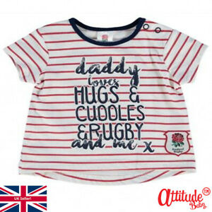 Baby England Rugby T Shirts-Official Baby Girls Rugby T Shirts-Daddy Loves Rugby