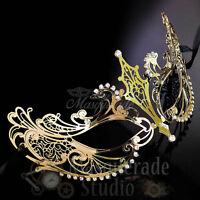New Womens Extravagant Light Filigree Metal Laser-Cut Masquerade Mask [Gold]
