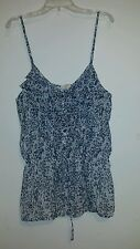 """""""MUDD"""" JUNIORS PRETTY WHITE & BLUE FLORAL TOP (SIZE: XL) with adjustable straps"""