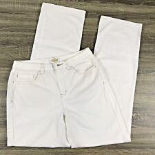 Talbots Womens 4 Jeans Pants Straight Leg Boot White Denim Mid Rise 28x31