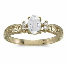 Genuine White Topaz and Diamond Victorian Style Band 10K Yellow Gold Ring