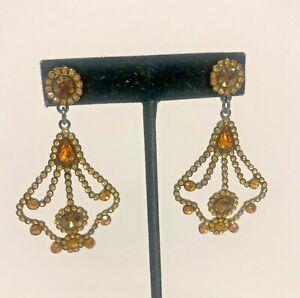 Joan Rivers Refined Luxury Crystal Chandelier Earrings - Pierced - Golden