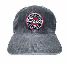 VTG POLO Ralph Lauren MADE IN USA Corduroy Strapback Hat Cap 1967 Script Gray