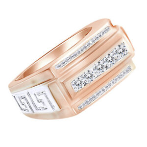 1 Ct Baguette Round Cut Simulated 14K Rose Gold Over Band Engagement Men's Ring