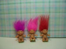 """THREE MINI / MINIATURE TROLLS  - 1"""" Russ Troll Dolls - NEW"""