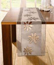 Tischläufer 40 x 160 cm Tischdecke Tischtuch Tisch Deko Landhaus Organza braun