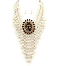 Pearl Necklace Set Women Jewelry Layered Tassel Leopard White  Elegant Style New