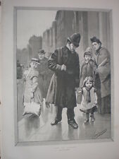 Lost in London by T W Couldery 1888 old print child policeman