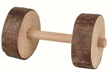 2 x Wooden Dumbell Chew Toys by Trixie, 9cm x 4.5cm Each. For small animals 6195