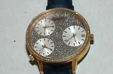 Large Aqua Ice Diamond 3 Time Zone  Watch Retail $2750 New