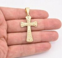"""2 1/4"""" Nugget Textured Cross Pendant Charm Real Solid 10K Yellow Gold"""
