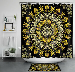 Retro Exotic Mandala Floral Gold and Black Waterproof Fabric Shower Curtain Set