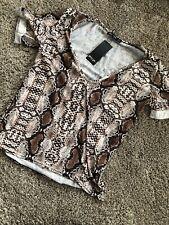 Nastygal Snake Print Scoop Tshirt Size Small