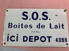 ancienne plaque émaillée de 25x15cm  ,-  dépot boites de lait - lot 105