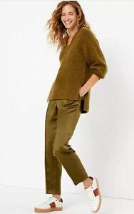 M&S Mid Rise Tapered Leg Satin Trousers Khaki Size 10