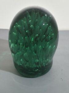 VICTORIAN BOTTLE GREEN GLASS DUMP PAPERWEIGHT WITH INTERNAL BUBBLES