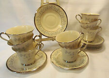 Lenox China WINDSONG Eight (8) Cup & Saucers Blue Floral Platinum Trim REDUCED!