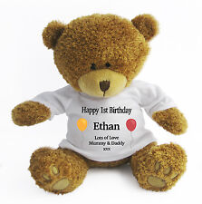 Personalised Baby First 1st Birthday Teddy Bear (Large) - Gift/Present/Keepsake