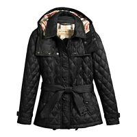 NWT Authentic Burberry Short Finsbridge Belted Quilted Removable Hood JacketS