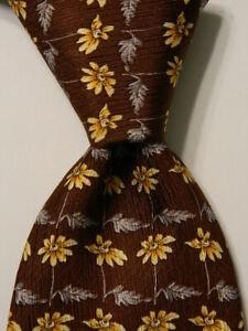 LEONARD STUDIO Men's 100% Silk Necktie ITALY Luxury FLORAL Brown/Yellow/Gray EUC