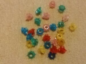 VINTAGE CHRISTMAS COLOURED FLOWERED FAIRYLIGHT REFLECTORS 28 IN TOTAL PLASTIC
