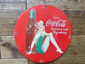 "Vintage Coca Cola Heavy Porcelain Sign 12"" Cola Soda Sign"