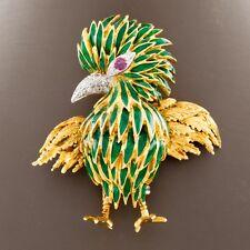 18ct Oro Amarillo Diamante y rubí esmalte verde Pájaro Broche