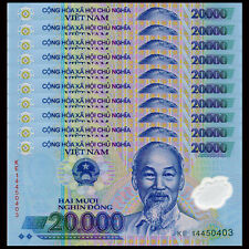 Lot 10 PCS, Vietnam Viet Nam 20000 20,000 Dong, Polymer, 2014-2016, P-120, UNC