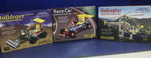 3 Mud Puddle Kids Steel Construction Kits BULLDOZER HELICOPTER RACE CAR
