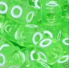 50pcs 7mm letra del alfabeto cubo Perlas Verdes O