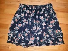 NWT Abercrombie & Fitch Women FLORAL CHIFFON MINI SKIRT Exclusive M Navy