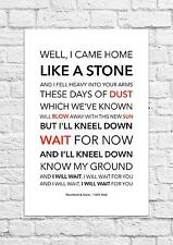 Mumford & Sons - I Will Wait - Song Lyric Art Poster - A4 Size