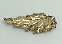 Superb Flora Danica Danish Gold on Sterling Silver Large Leaf Statement Brooch