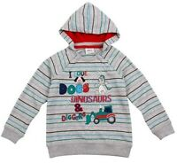 Baby Boys Dinosaur Hoodie - Age 12 18 24 Mths - Kids Diggers Sweatshirt Clothes